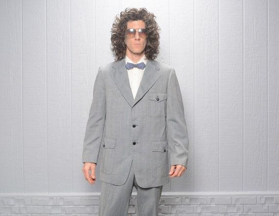 men vintage suit 70s herringbone belt back wide la