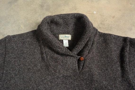 vintage 80s LL Bean fisherman sweater shawl colla… - image 3