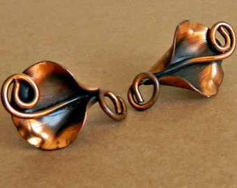 Ooak Flower Jewelry 7th Anniversary Valentine/'s Day Gift CallaLily COPPER CALLA LILY Earrings Copper Earrings Bijouterie SudhaCO1037