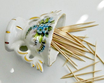 #874. Bernard Instone small enamel brooch enamelled flowers and leaves Arts and Crafts vintage brooch or lace pin 1930s forget-me-nots