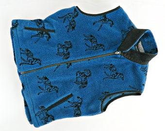 Equestrian Vest Black and Blue Neck Vest Horse and Hound  Italian Tapestry V