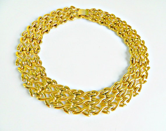 Vintage Napier Gold Panther Link Choker Necklace,