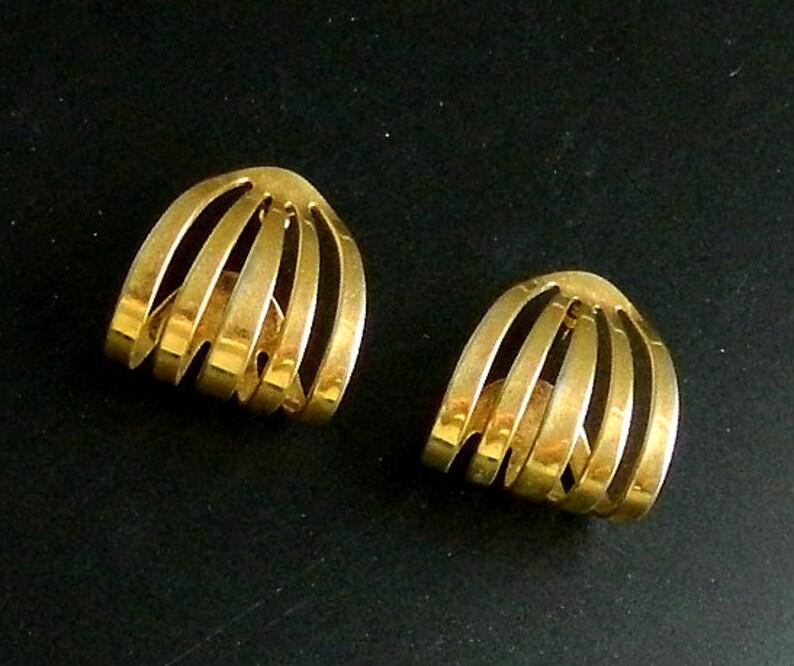 Vintage Pierced Gold Tone Hoop Earrings Multiple Hoops Stud Half Hoops