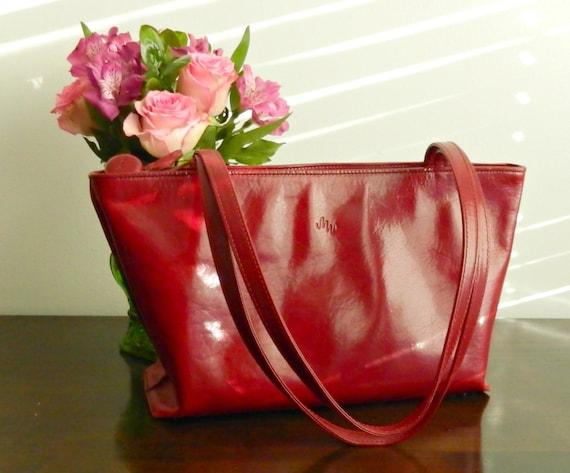 Vintage Monsac Red Italian Leather Handbag