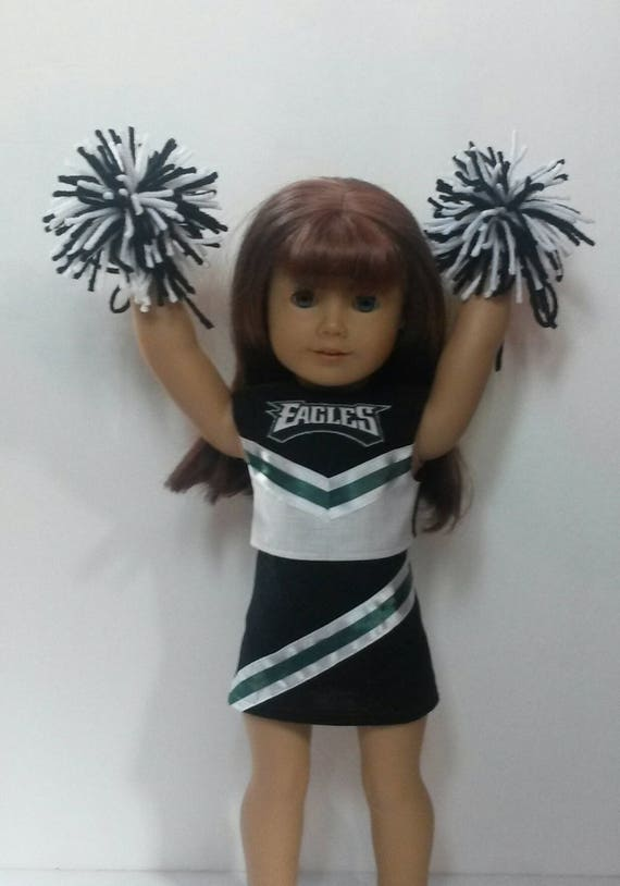 """Cheerleader Set w//Pom Poms /& Schrunchie made for 18/"""" American Girl Doll Clothes"""