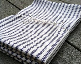 Cotton Ticking Stripe Napkin Navy Blue Set of Four