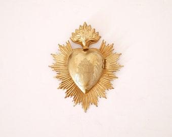 Vintage French Milagro Ex Voto Reliquary Relic Religious Art- Gold toned