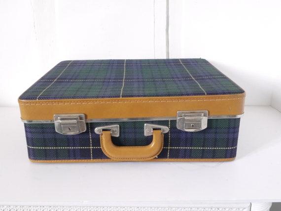 French Vintage blue plaid suitcase  luggage