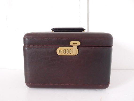 French Vintage leather Train Case merlot burgundy