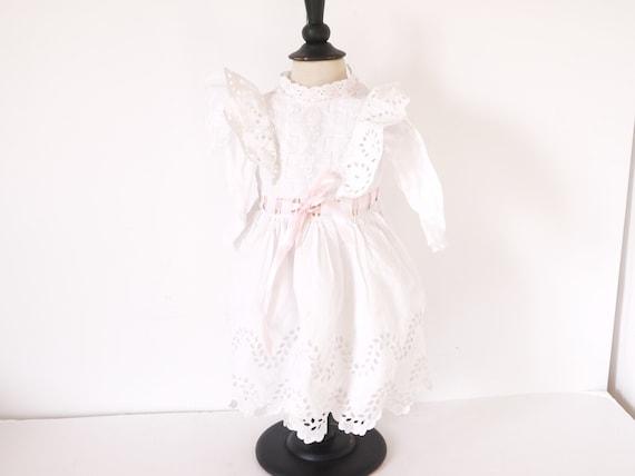 French antique newborn baby girl white eyelet  dre