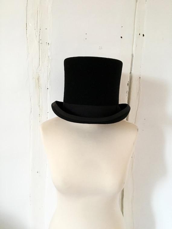 French Vintage Black Top Hat, Felt Hat, Black Hat,