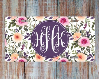 and Pink Version Yellow Customizable Monogram Front Car Tag Floral Design Purple