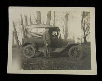Early 1900's Vintage Photograph Automobile and Abe's First Long Pants  - Real Person RPPC