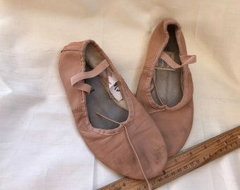 Vintage Pink Leather Child-Size Ballet Shoes  -Soft Leather - For Decor, Shadow Box, Photo Prop -Dance Studio Decor -Shabby, Loved Condition