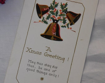 Vintage Christmas Postcard - Merry Christmas - Xmas Bells and Holly Greetings Vintage Postcard