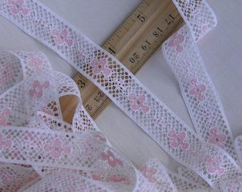 10 Yards Lace Vintage Trim- Pink and Antique White Lace  - Floral Flowers - LOT Bulk