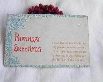 Cheery Birthday Wish       -Vintage Postcard -
