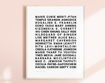 Scientists- Feminist Heroes Art Print- Inspirational Women Poster Minimalist Graphic Print Powerful Text Strong Empowering Women