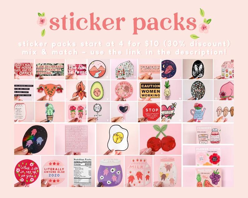 Iris Flower Vagina Illustration Art Yoni Floral Laptop Stickers Planner Sticker Feminist Pussyflower Vinyl Sticker