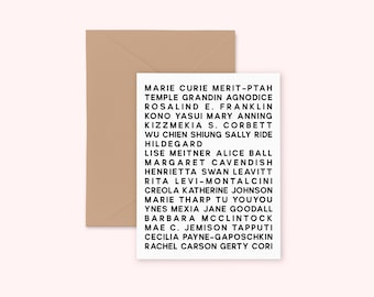 Feminist Heroes Scientists Greeting Card- Personalized Gift Empowering Inspirational  Illustrated Cute Minimal Greeting Card A2 Kraft Paper