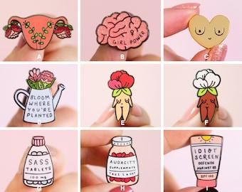 Feminist Enamel Pin Set- Feminist Gift Cute Enamel Pins Garden Flowers Feminist Gift Girl Power Art Gifts for Girls Presents