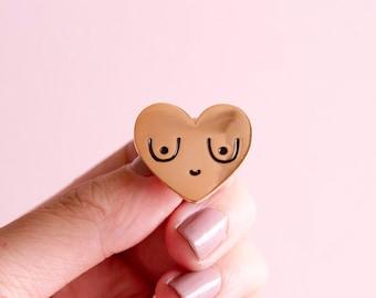 Feminist Enamel Pin Rose Gold Boobs-  Feminist Gift Breasts Bachelorette Gift Women' Rights Reproductive Rights Girl Power Art