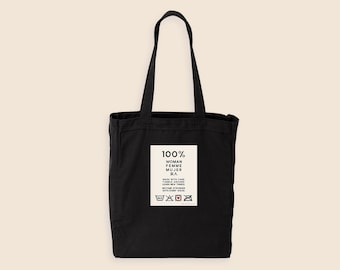 Feminist Tote Bag- Care Instructions Cute Girl Power Gusseted Tote Bag 100% Cotton Canvas