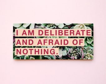 """Feminist Vinyl Sticker Audre Lorde- """"I am deliberate and afraid of nothing"""" Illustrated Inspirational Quote Text Weatherproof Decal Laptop"""