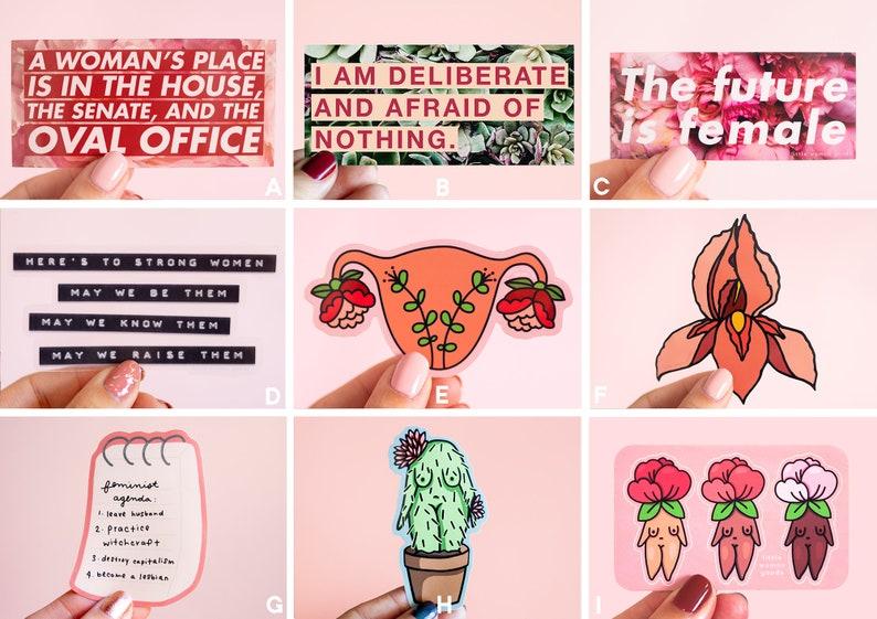 Feminist Sticker Pack Vinyl Illustrated Feminist Gift image 0