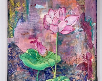 Lotus Out of the Storm  ORIGINAL collage on wood panel