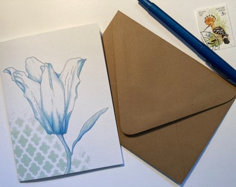 One Lily in Bloom Botanical Illustration Blank Notecard