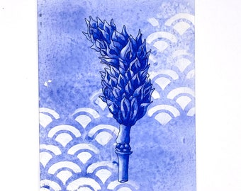Custom Order for Lynn French Ultramarine Blue Magnolia Seed Pod Fine Art Print Matted and Ready to Frame