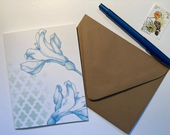 2 Lilies Botanical Illustration Blank Notecard