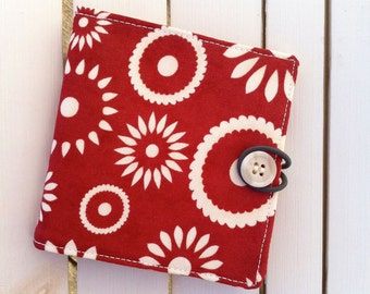 BiFold Fabric Wallet - 6 Card Slots & Billfold - Hometowns Flowers (red, white)