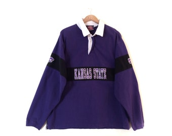 f0d57c58065 Vintage K-State Rugby Polo Shirt // Retro Kansas State Rugby Style Polo //  1990's Kansas State University Polo