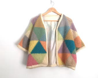 16db95fd0e7d Black White Pattern Sweater Vintage Geometric Sweater XS