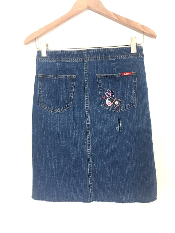 choose latest new product largest selection of 2019 Vintage Guess Jean Skirt with Embroidery // Embroidered Guess Denim Skirt //