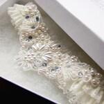 Opal Blue Romance Ivory Lace Beaded Wedding Garter