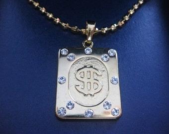 dollar necklace, gold dollar necklace, dollar necklace jewelry, gold dollar necklace pendant, gold dollar necklace charm, dollar  jewelry