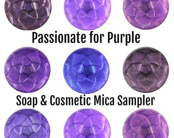 Mica Sample Set - Passionate for Purple - 7 Purple Mica Powder Colors for Soap & Cosmetics - Approved for Lip, Eye, Nail, Soap Making