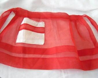 Vintage 1960's Half Apron in Red Organza Fabric Vintage Linens