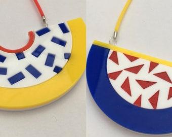 c2868b201dc Laser Cut Modern Modernist Bright Colourful Geometric Statement Acrylic  Necklace