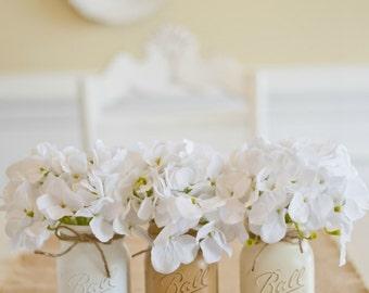 Painted Mason Jars. Vase. Vintage looking Mason Jars. Rustic Home Decor
