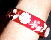 back carved painted red valentine lucite roses cuff bracelet vintage