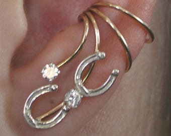 Horseshoe Ear Wrap -- Western non Pierced -- Sterling Silver -- 14k Gold Filled