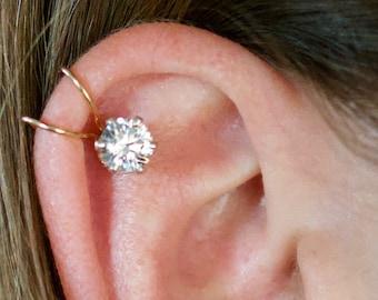 Ear Cuff - 6mm CZ - Helix Ear Cuff - Ear Wrap - Silver Ear Cuff - Helix Earring -Cartilage Earring - Fake Ear Piercing - earcuff