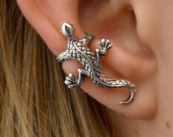 Gecko - Ear Cuff - Sterling Silver or Gold Vermeil - SINGLE SIDE or PAIR
