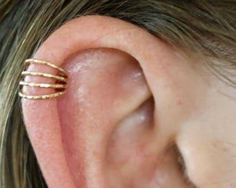 Four Wire High Ear Cuff - Ear Wrap - Ear Cuff - Earcuff - Ear Cuffs no Piercing - Gold Ear Cuff - Ear Cuffs - non pierced - Silver Ear Cuff