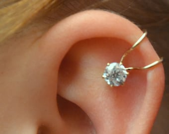 Helix Ear Cuff - 5mm CZ - Ear Cuff - Ear Wrap - Helix Cuff - Ear Cuffs - Ear Wraps - Diamond Ear Cuffs - Diamond Helix Cuffs -  no piercing