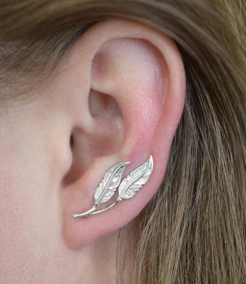 Up the Ear Earring Ear Climber Ear Climbers Feather Ear Climber Ear Cuffs Ear Cuff Ear Crawler Feather Ear Cuff -Ear Crawlers